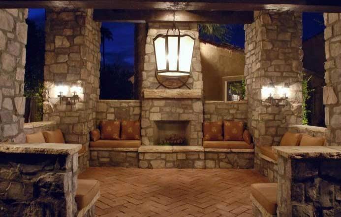 Concrete brick stone contractor services for Outdoor room with fireplace